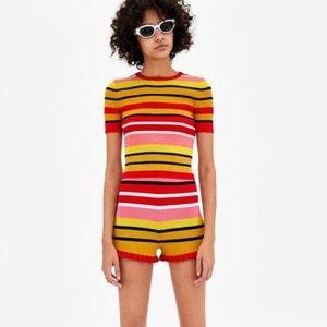 Zara Starburst Stripe Ruffle Knit Shorts